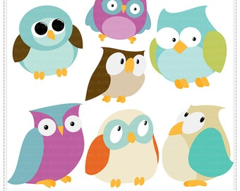 Owls Collection Vol 1 - Digital Clip Art , Commercial Use Clipart, Scrapbook, Printable - Instant Download