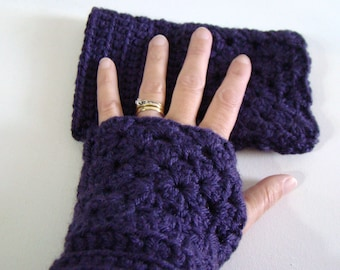 Plum Purple Wrist Warmers Granny Square Crochet Winter Fashion Purple Fingerless Gloves Crochet Mittens