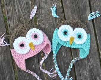 Crochet Baby Owl Hat --photography prop --handmade