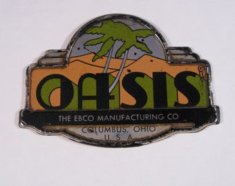 Oasis Tin Equipment Tag/Decal From Old Water Cooler Great Graphics Palm Trees Olive and Peach Lithographed Tin True Vintage 1940s