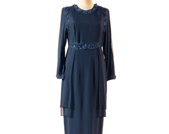 Blue Dress, Silk Dress, Glass Beads Embedded, Long Sleeves Dress, Bridesmaid Dress, Two layers Dress, Transparent Top Llayer, Noble Dress