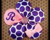Monogrammed Purple Polka Dot and Pink Petal Flower Hairclip....Baby Hairbow...Toddler/Girls Hairbow...Monogram Hairbows