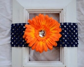 Navy Blue Crochet Elastic Headband with Removable Orange Flower Daisy Hair Accessory Clip Baby Toddler Kids Girl Birthday Baby Shower