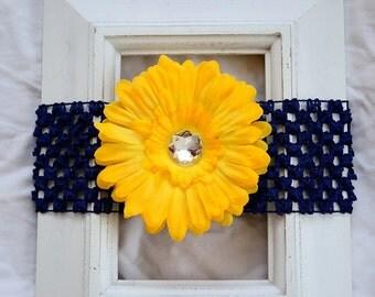 Navy Blue Crochet Elastic Headband with Removable Yellow Gold Daisy Flower Hair Clip - Accessory Baby Shower Gift Present Birthday Teacher