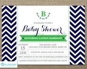 Chevron Baby Shower Invitation - Boy Baby Shower Invitation - Stars Baby Shower Invitation - Sprinkle Invitation - Twins Invitation - Navy