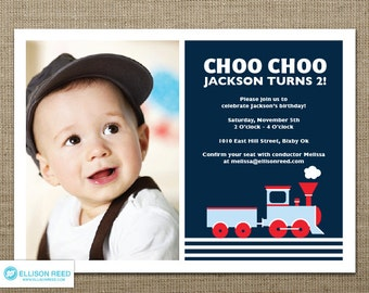Train Birthday - Train Invitation - Train Printable - Choo Choo Train - Boy Birthday - Printable party - First Birthday - Navy Invitation