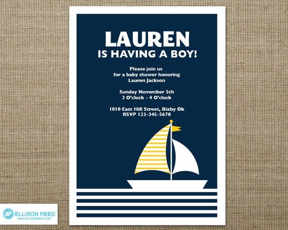 Nautical baby shower invitation - Baby Shower Invitation - Nautical Invitation - Sail Boat Invitation - 1st birthday - Nautical Printable