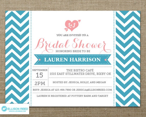 chevron bridal shower invitation bridal shower printable wedding