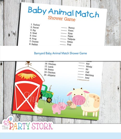 Barnyard Baby Shower Game PRINTABLE Baby Animal Match Game By