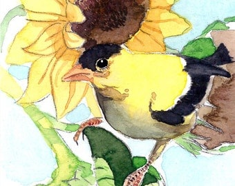 ACEO Limited Edition  2/25- Sunday in the sunflowers, in watercolor