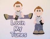 RESERVED FOR KAREN Loving my Tunes, Teen Boy Premade Scrapbook Paper Pieced Music