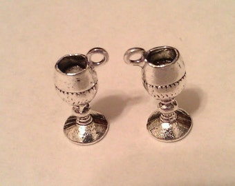 Goblet Chalice Wine Charm Happy New Year or 21st Birthday (12) Antique Tibetan Silver Finish Tibetan Style 3/4 Tall
