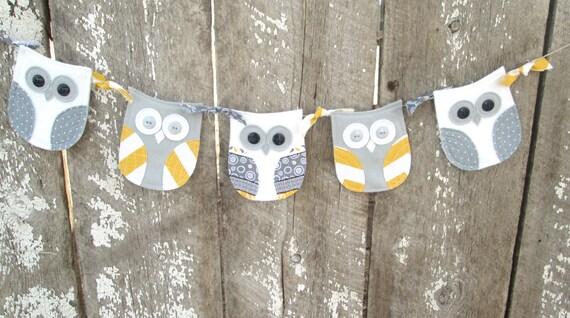 RESERVED FOR TARA  grey, yellow, white owl garland