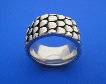 Silver Scale Ring , Hand Made Solid Silver