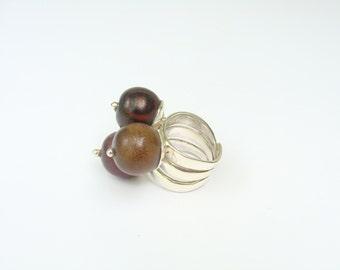 Wooden Ball & Sterling Silver Ring