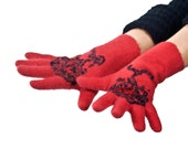 Handmade felted  gloves - red - unique OOAK - natural wool - Christmas gift for her