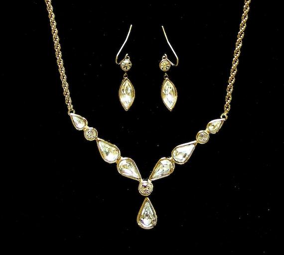 Christian Dior Rhinestone Necklace, Gold Plated Bezel Set, Collectible Designer Vintage, Wedding, Bridal, Formal