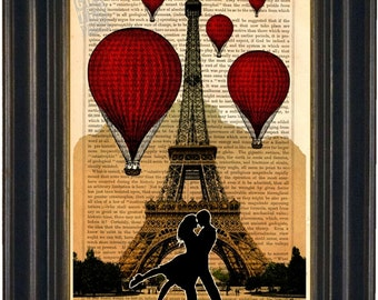 The Kiss Red Balloons Over The   Eiffel Tower Paris Mixed Media Digital Print on 1860's Vintage Book Page