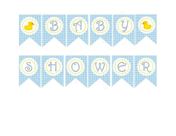 Items similar to blue rubber duck baby shower diy Baby shower banners