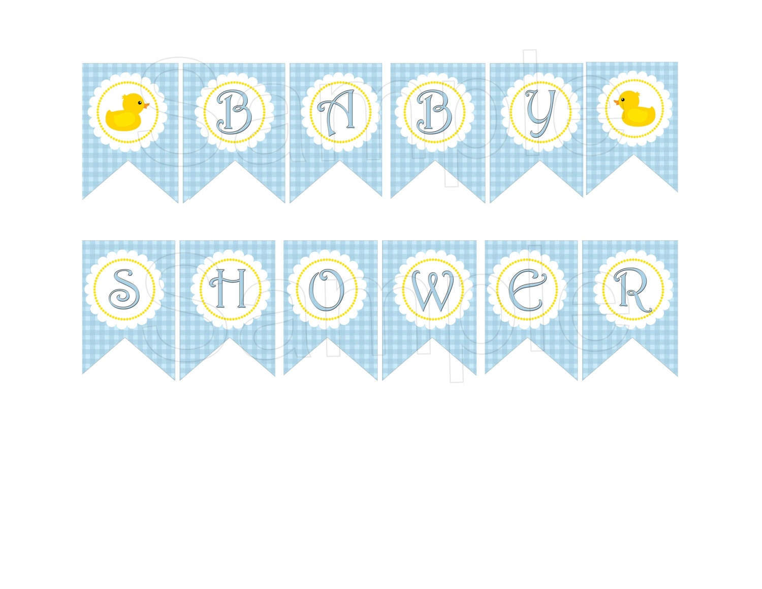 Blue rubber duck baby shower diy printable banner by suzz377 for Baby shower decoration templates