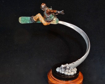 "Back Country, Earn Your Turns, bronze sculpture, edition 50, 17"" tall x15"" wide, table version"