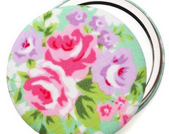 Fabric Compact Mirror/ Pocket Mirror/ Handbag Mirror, floral rose in mint green, compact mirrors for wedding favours & party bag fillers