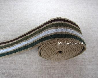 "1 yard Khaki Green Olive White Striped Webbing Purse Strap, 1.5"" wide"