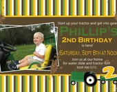 Tractor Party Invitation, Farm Party Invitation -- Boy Birthday Invitation -- custom, digital, personalized, printable birthday invite