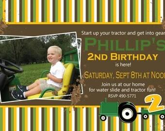 Tractor Party Invitation, Farm Party Invitation -- Boy Birthday Invitation -- custom, digital, personalized, printable birthday invite
