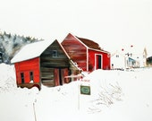 RESERVED: Stowe Vermont Farm in Snow, OIL PAINTING, Home for the Holidays, Rural Farm with a Red Barn, Styled like Paint By Numbers,