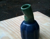 Little Blue and Green Curved Orbed Bud Vase