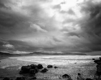 Beach Photography Oregon Coast Pacific City--Fine Art Black and White Photography 8x12