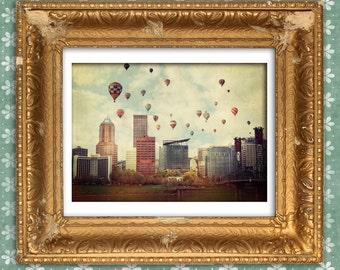 Portland Oregon Photograph | Vintage Style | Portland Skyline | Hot Air Balloons | Whimsy | Kids Room | Oregon Photograph | Oregon Print