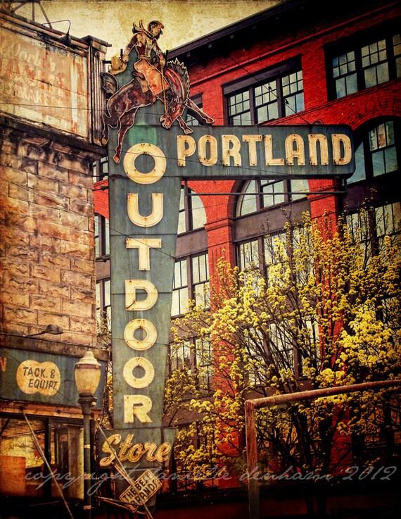 portland oregon photoportland outdoor store distressed 24x36. Black Bedroom Furniture Sets. Home Design Ideas