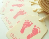 Pink Footprint Tags , Baby Shower Favors , Baby Shower Thank You Tags ,Treat Labels