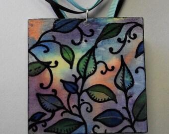 Leaf Painted Multi Color Necklace