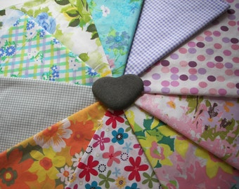 Vintage and upcycled sheet fat quarter bundle of 10
