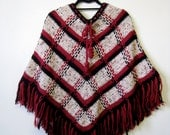 1970s Hand Knit Boho Swing Poncho Cape