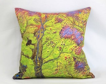 Green Siberian Geology Pillow Cover: USGS Digital Satellite Photo on Fabric / Green, Purple, Red, Orange / Perfect Geology Science Gift