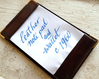 Leather Wallet, Mens Wallet, New Old Stock, Vintage, 1960s, Brown, Notepad, Note Pad, Retro Mad Men, All Vintage Man