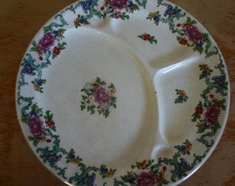 Rare Floradora Booths Perfector No 378404 Silicon China England Old Vintage Serving Plate 3 Compartments