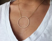 XL Large Circle Sterling and Gold Filled Pendant Necklace - Eternity Necklace - Two Toned Necklace - Everyday Necklace - Mix Metal Necklace