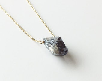 Silverite Nugget Gold Filled or Sterling Necklace - Natural Gemstone Necklace - Nugget Necklace
