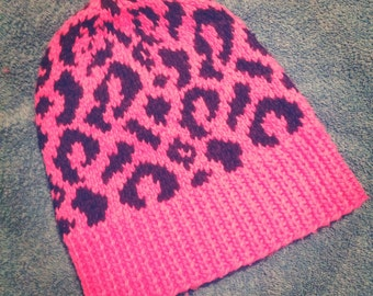 LUXURY Hot pink leopard print super soft  'Olivia' hat - size S/M