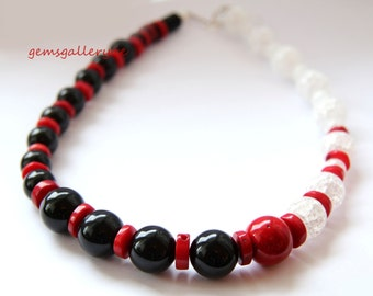 Red Coral, Onyx, White Crackle Glass & Sterling Silver Necklace