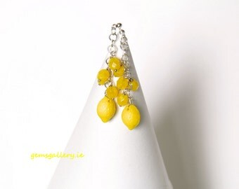 Fresh Lemon Yellow Glass with Sterling Silver Earrings
