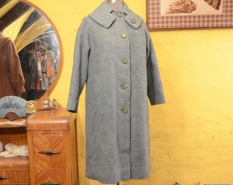 50s Robins Egg Blue Heavy Wool Coat Fancy Collar M / L