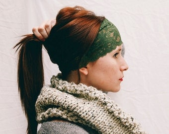"""WHOLESALE Ten (10)  Olive Green Stretch Lace Headband 3.5"""" Wide"""
