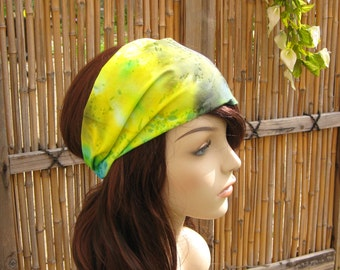 Womens Headband Head Wrap Dreadband Womens Bandana Fabric Headband Tie Dye Headband Hippie Headband Aqua Green Yellow Purple Hair Accessory