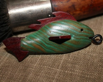 Vintage Wooden Hand Carved and Hand Painted Fish Key Chain Accessory, Lamp Pull, Whimsical